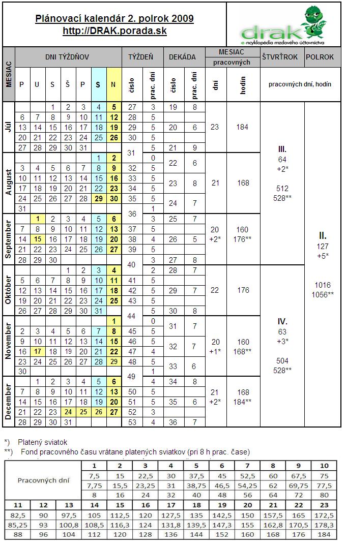 planovaci kalendar 2009 Plánovací kalendár 2009   PORADA.sk planovaci kalendar 2009